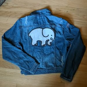 Ivory Ella brand sequin elephant denim jacket (M)